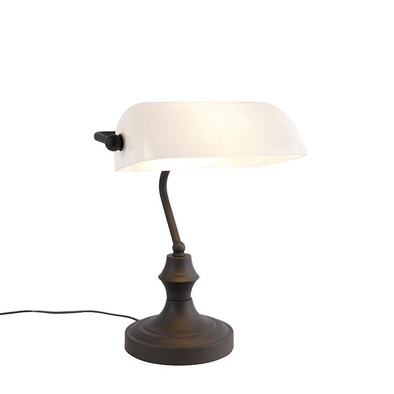 Klassieke notarislamp zwart met opaal glas - Banker
