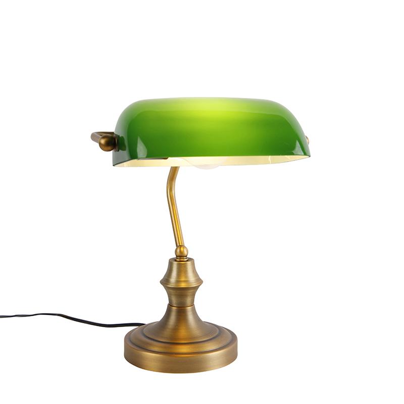 Klassieke notarislamp brons met groen - Banker
