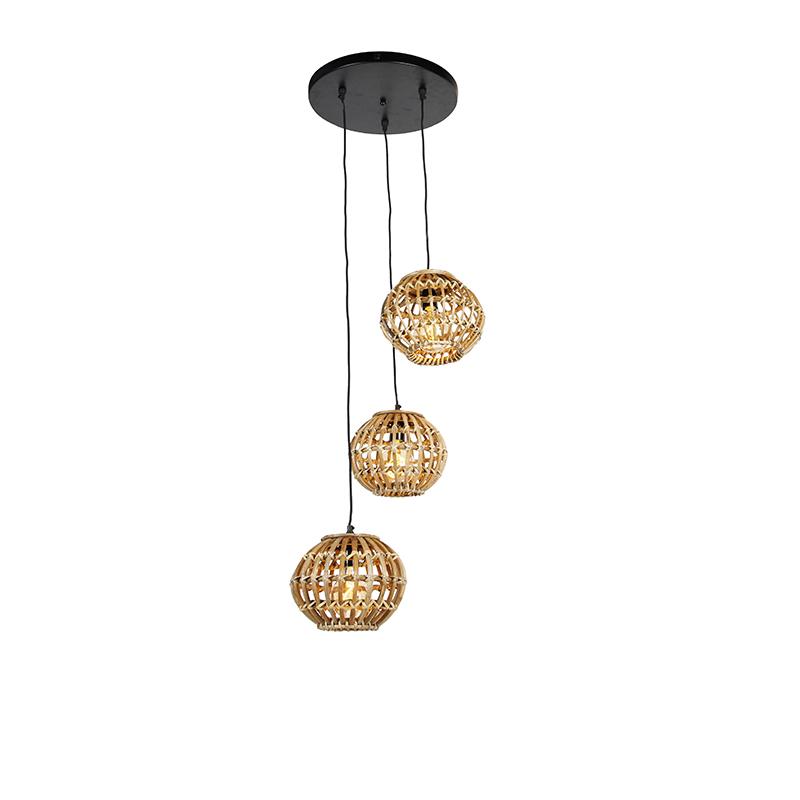 Landelijke hanglamp bamboe rond 3-lichts - Canna