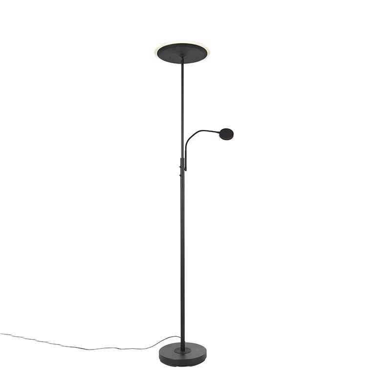 Moderne vloerlamp zwart incl. LED met afstandsbediening en leesarm - Strela