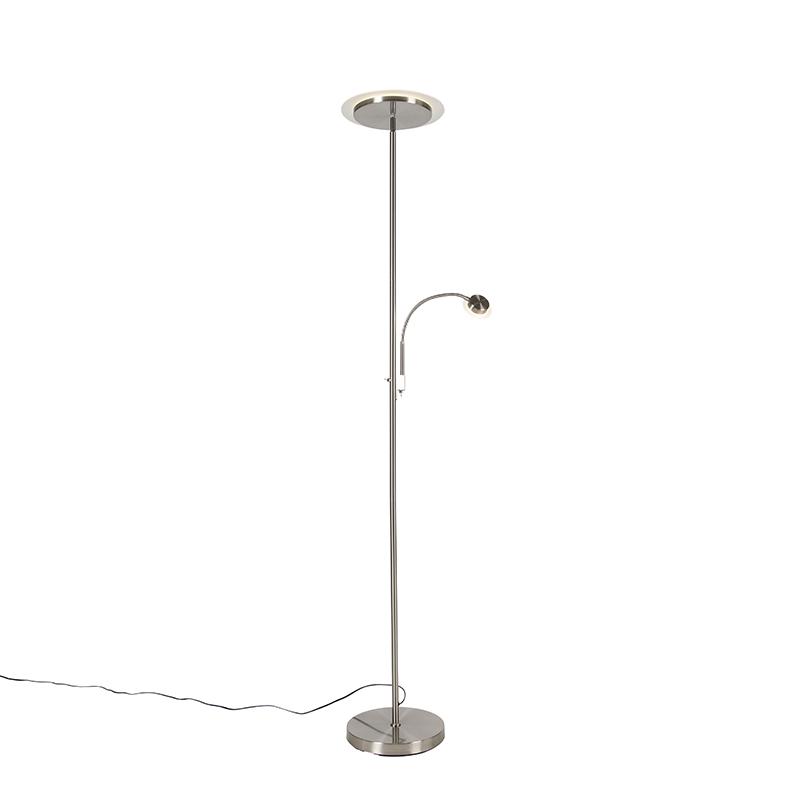 Moderne vloerlamp staal incl. LED met leesarm - Chala