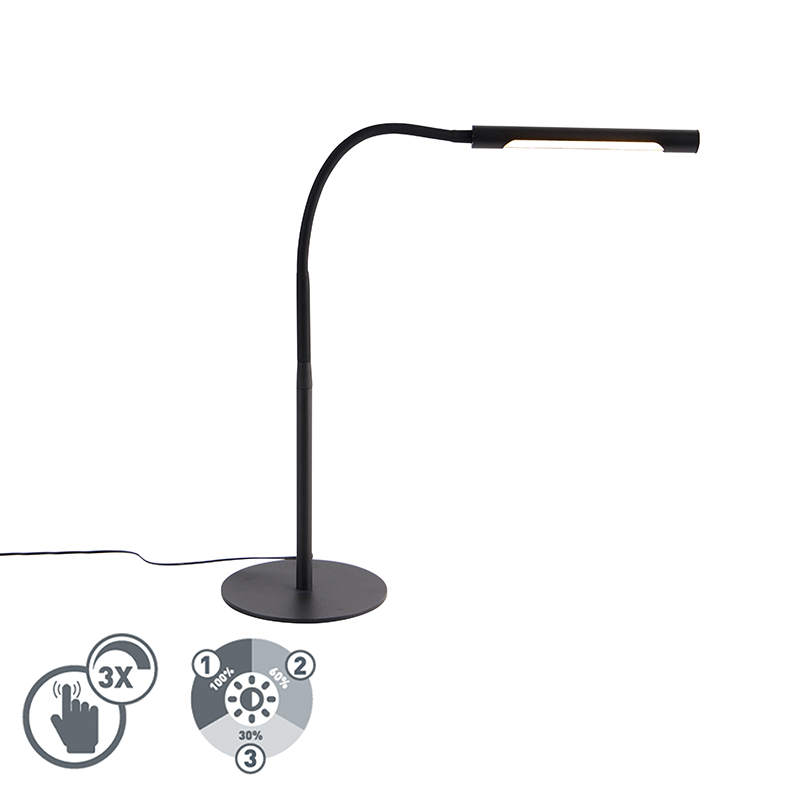 Design tafellamp zwart incl. LED met touch dimmer - Palka