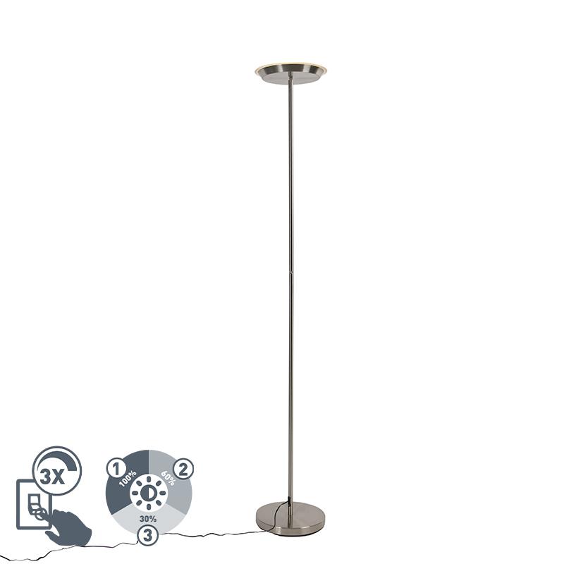 Vloerlamp staal 3-staps dimbaar incl. LED en touch dimmer - Pondi