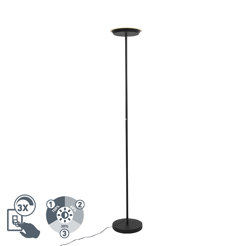 Lampa podłogowa czarna 3-stopniowa ściemnialna z diodą LED i ściemniaczem dotykowym - Pondi