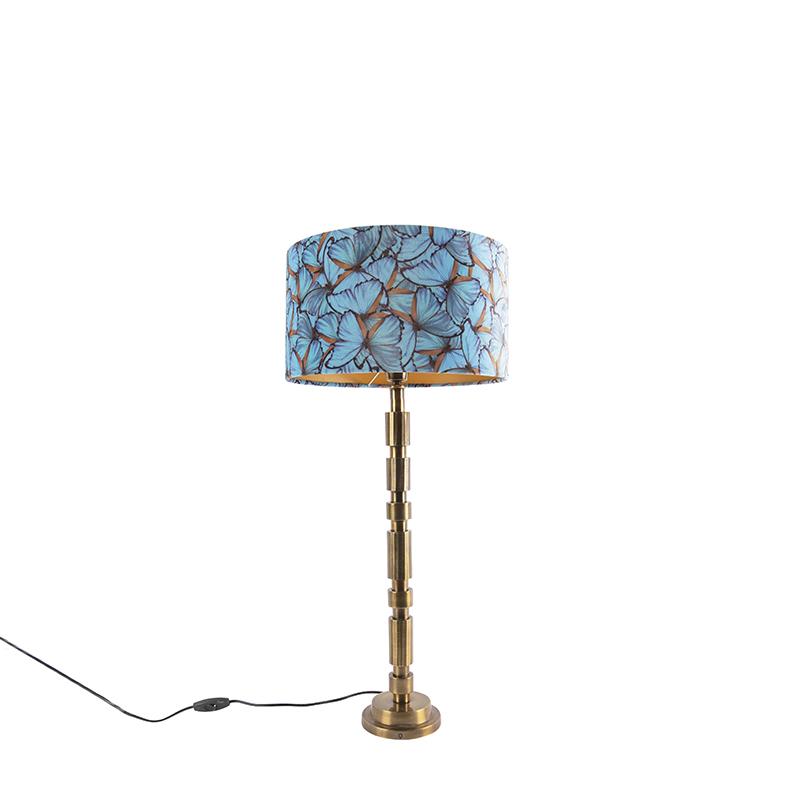 Lampa stołowa art deco brąz klosz welurowy motyle 35cm - Torre