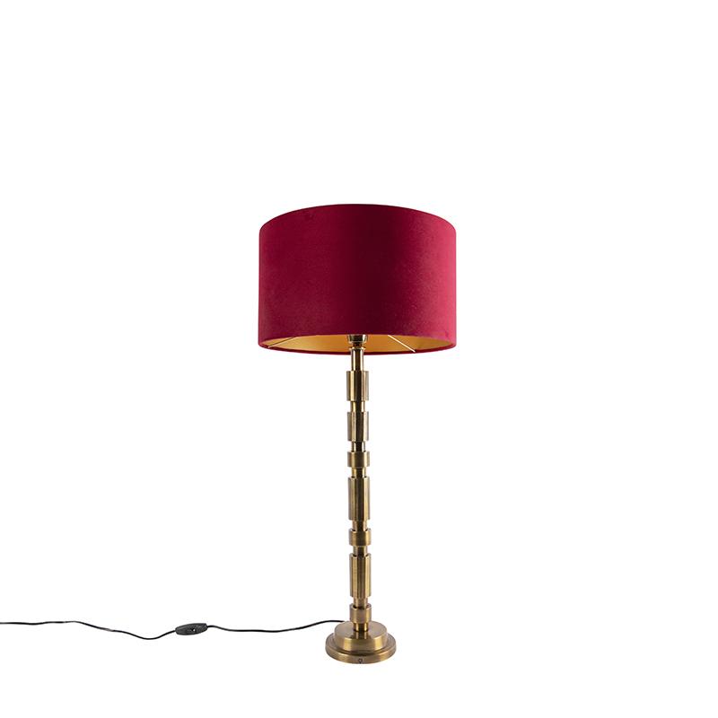 Lampa stołowa art deco brąz klosz welurowy czerwony 35cm - Torre
