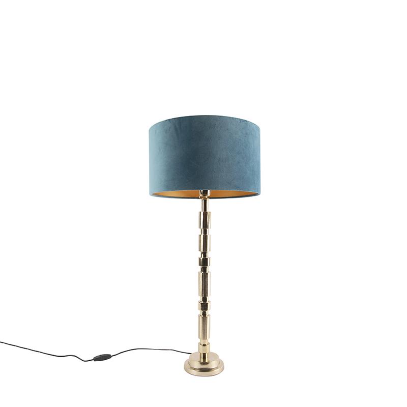 Art Deco tafellamp goud velours kap blauw 35 cm - Torre