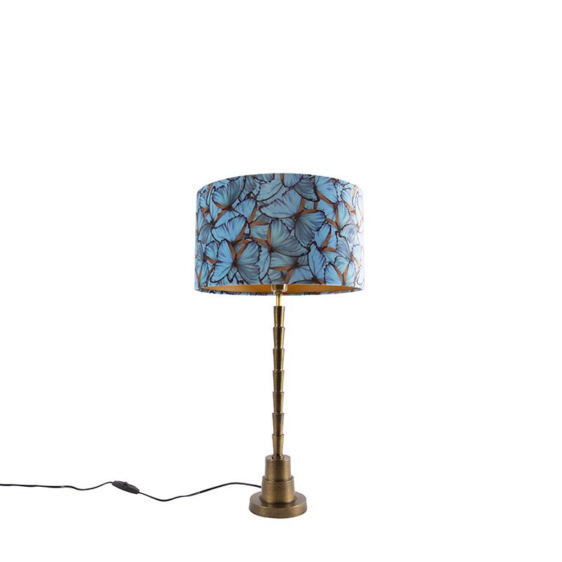 Art Deco tafellamp brons velours kap vlinder dessin 35 cm - Pisos