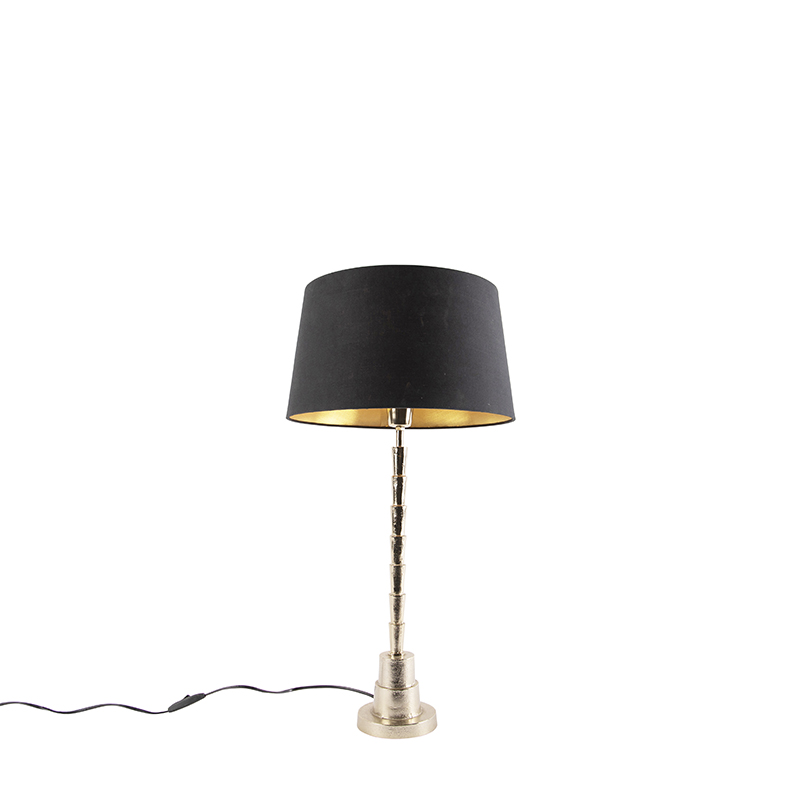 Art deco tafellamp goud met katoenen kap zwart 35 cm - Pisos