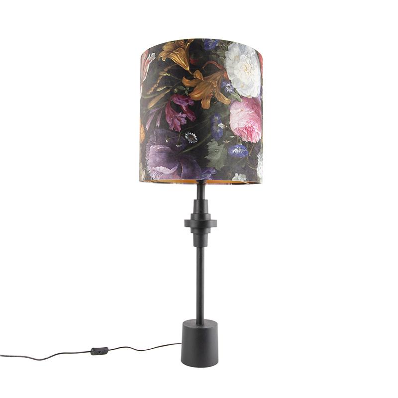 Tafellamp zwart velours kap bloem dessin 40 cm - Diverso