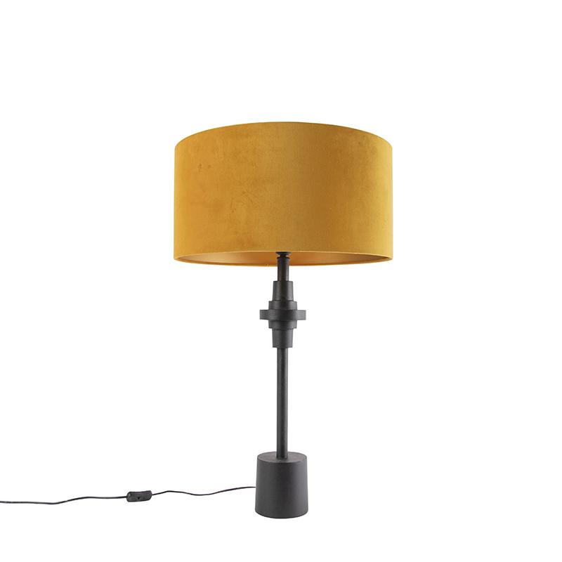 Lampa stołowa art deco czarna klosz welurowy żółty 50cm - Diverso