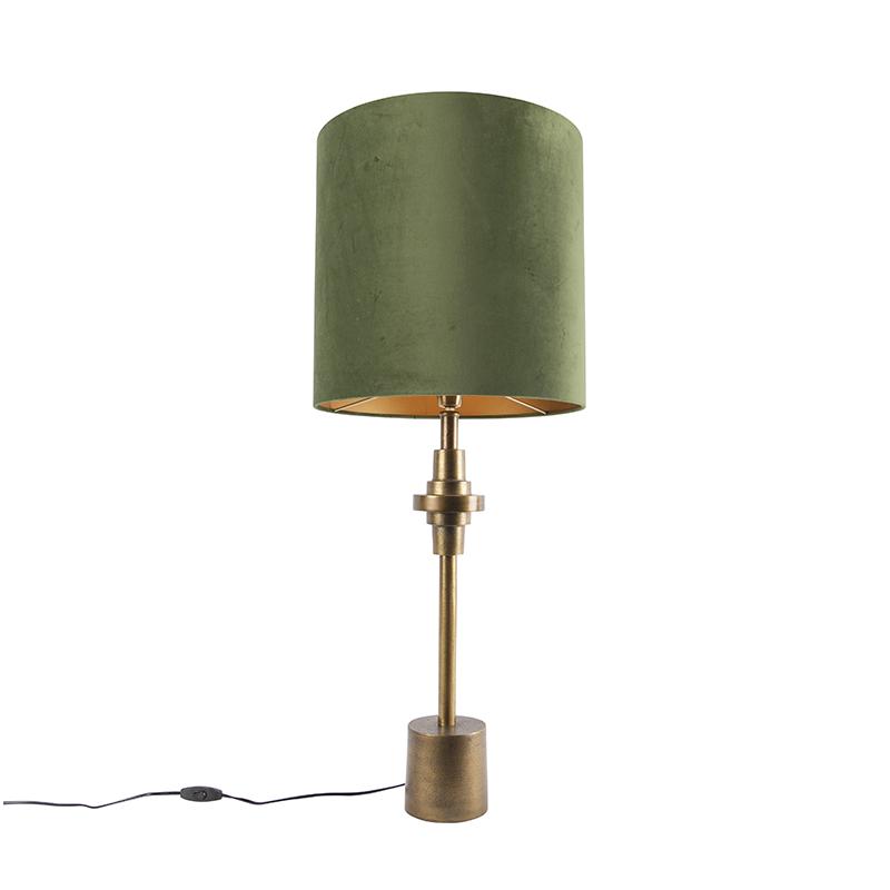 Tafellamp brons velours kap groen 40 cm - Diverso