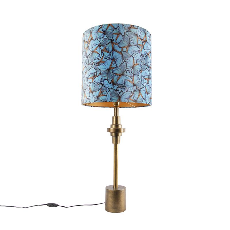 Lampa stołowa art deco brąz klosz welurowy motyle 40cm - Diverso