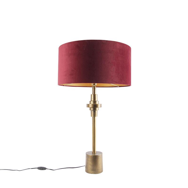Lampa stołowa art deco brąz klosz welurowy czerwony 50cm - Diverso
