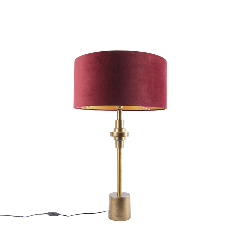 Art Deco tafellamp brons velours kap rood 50 cm - Diverso