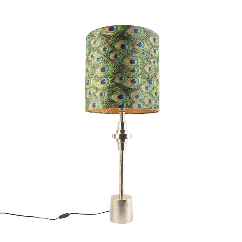 Art Deco tafellamp goud velours kap pauw dessin 40 cm - Diverso