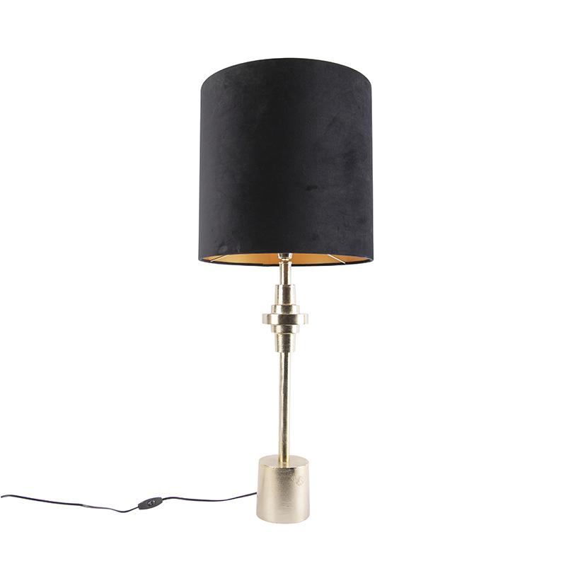 Art deco tafellamp goud met velours zwarte kap 40 cm - Diverso