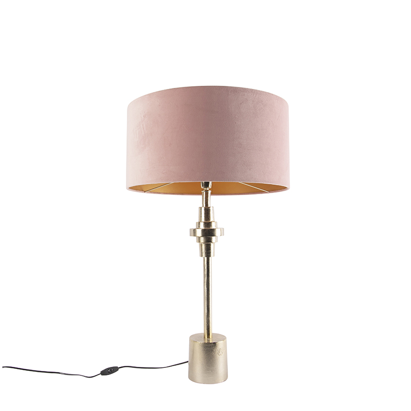 Art Deco tafellamp goud velours kap roze 50 cm - Diverso