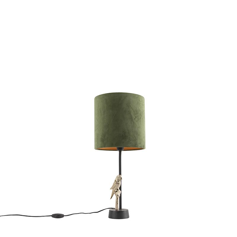 Art deco tafellamp zwart met groene kap 58,5 cm - Pajaro