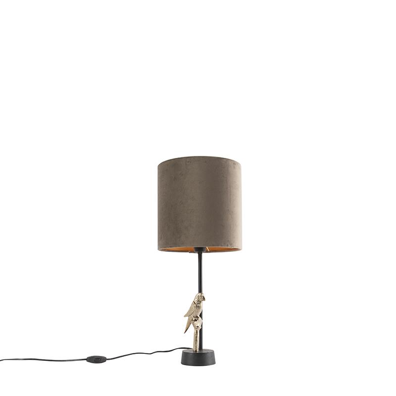 Czarna lampa stołowa w stylu art deco z szarobrązowym kloszem - Pajaro