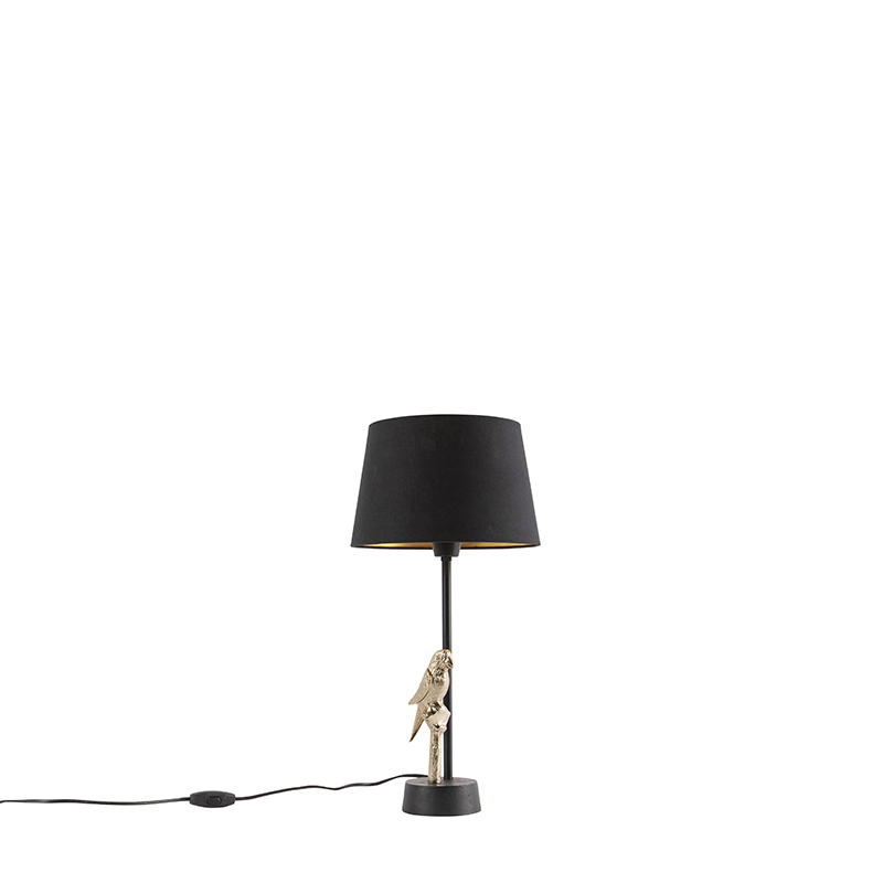 Art deco tafellamp zwart met katoenen zwarte kap 25 cm - Pajaro