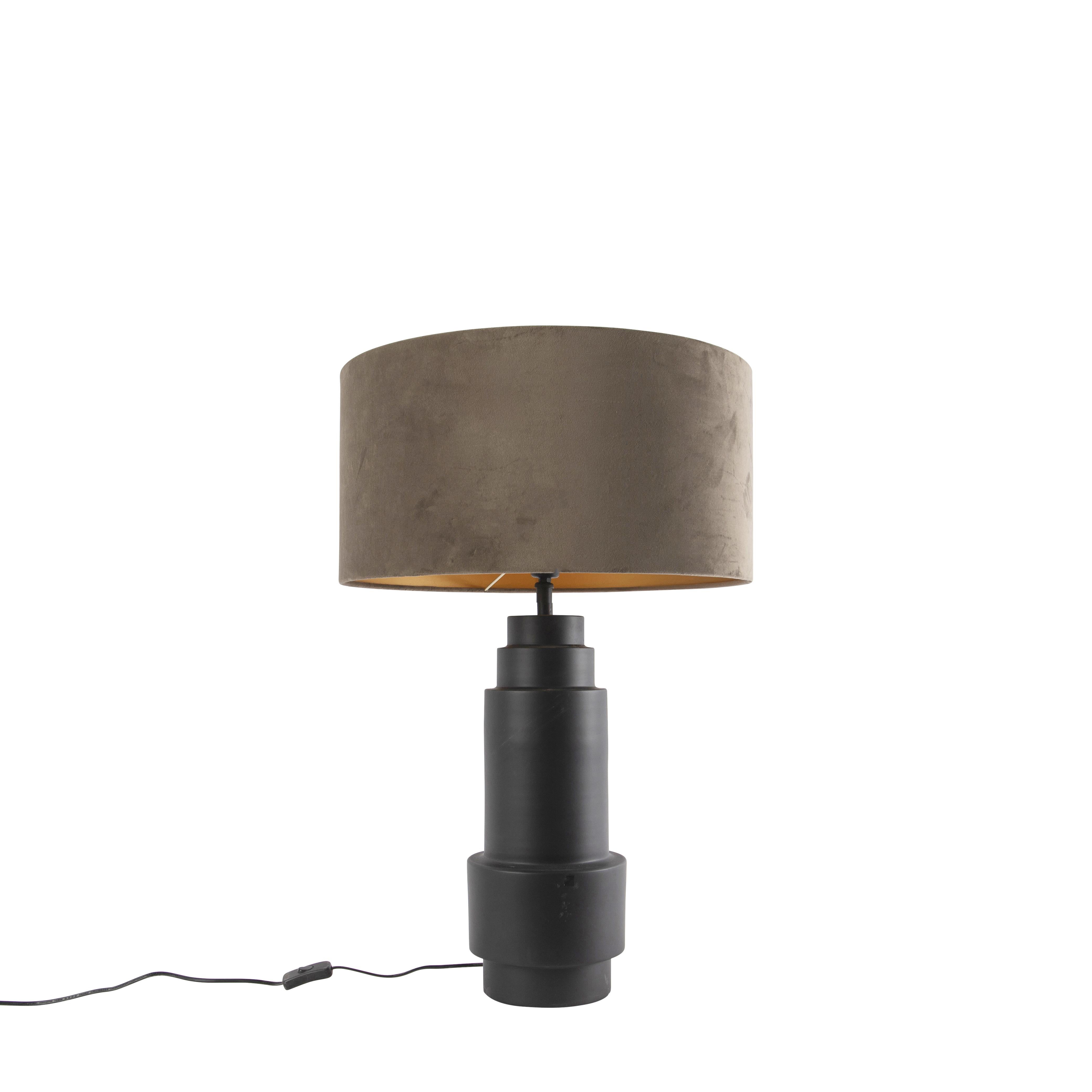 Art deco tafellamp zwart met velours taupe kap 50 cm - Bruut