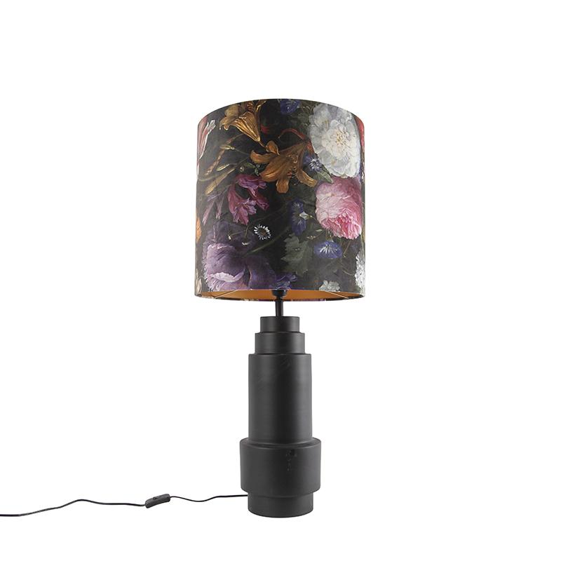 Art deco tafellamp zwart met velours bloemen kap 40 cm - Bruut