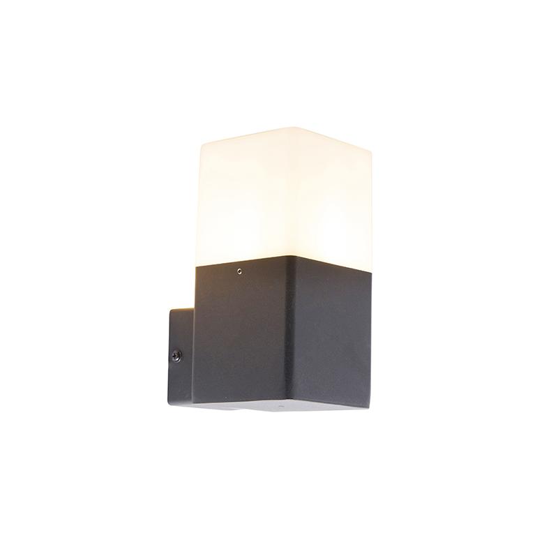 Buitenwandlamp zwart met opaal witte kap IP44 - Denmark
