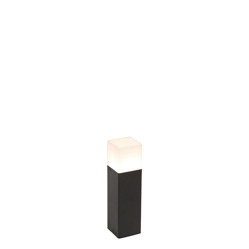 Staande buitenlamp zwart met opaal witte kap 30 cm - Denmark