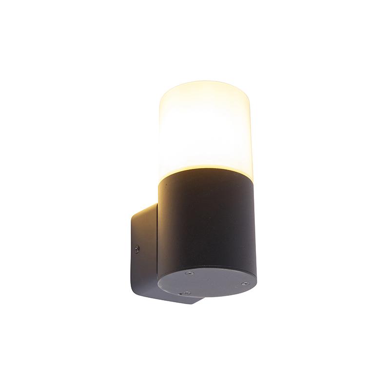Moderne buiten wandlamp zwart met opaal kap IP44 - Odense