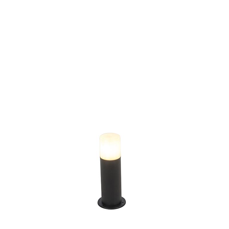 Staande buitenlamp zwart met opaal kap wit 30 cm IP44 - Odense