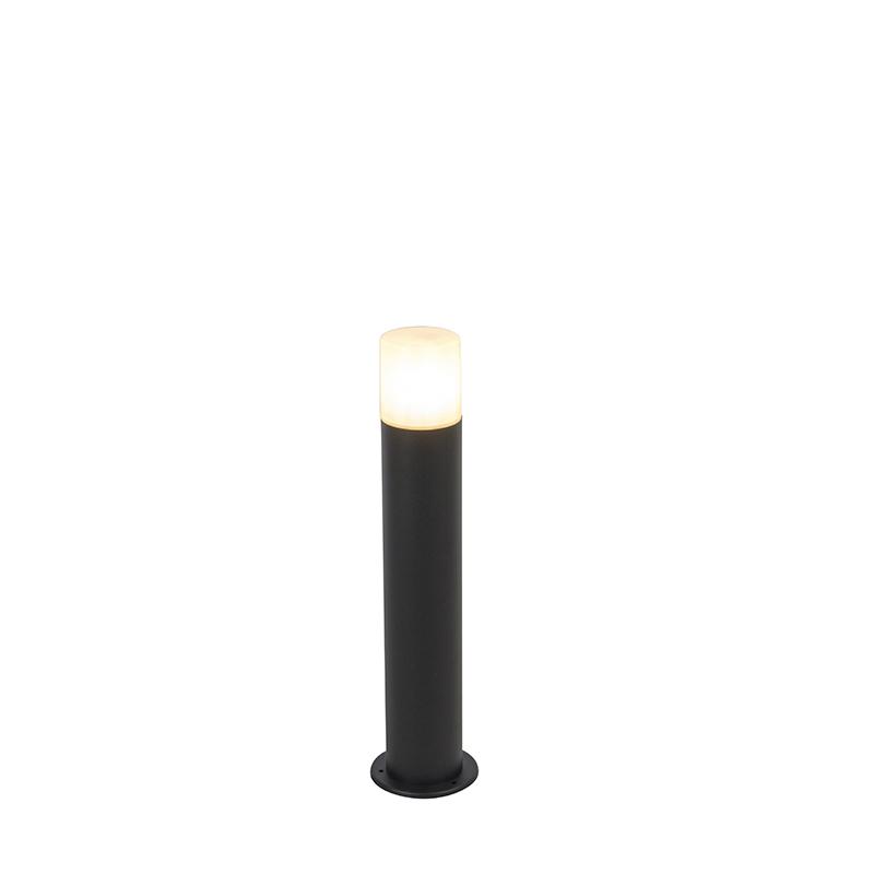 Staande buitenlamp zwart met opaal witte kap 50 cm - Odense