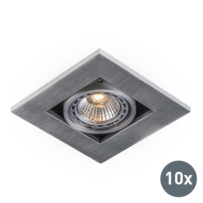 Zestaw 10 x oprawa do wbudowania kwadratowa aluminium - Qure