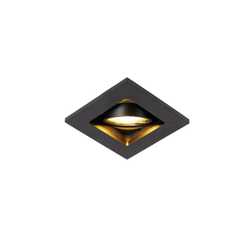 Set van 10 inbouwspots zwart verstelbaar - Qure