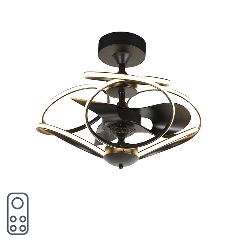 Design plafondventilator zwart met afstandsbediening incl. LED - Kauv