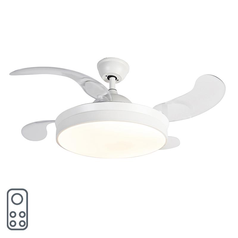 Moderne plafondventilator wit met afstandsbediening incl. LED - Xiro