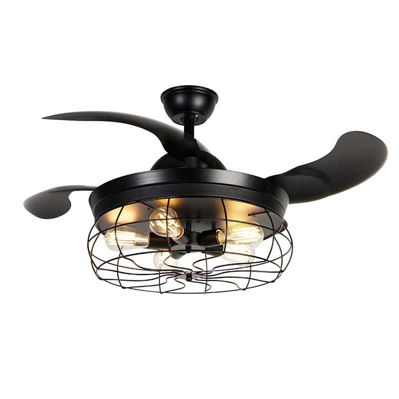 Plafondventilator zwart met afstandsbediening 5-lichts - Gaiola