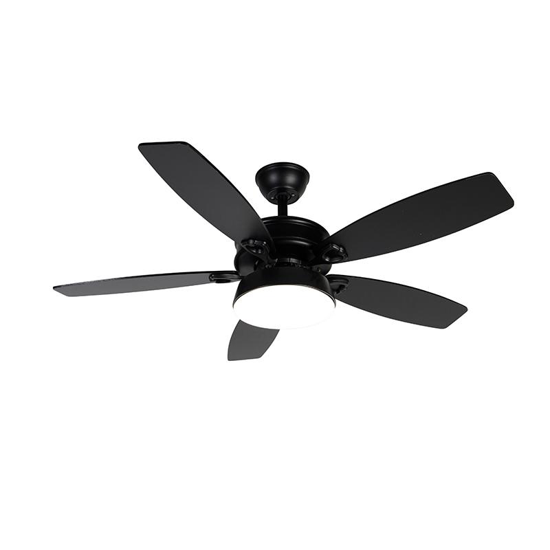 Plafondventilator zwart met afstandsbediening incl. LED - Malaki