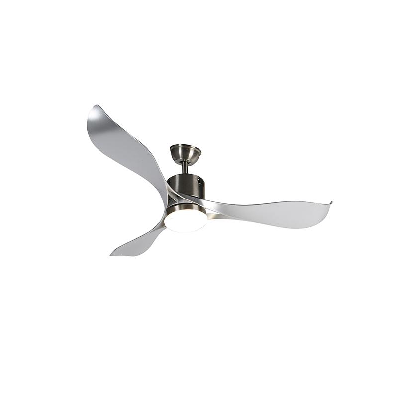 Plafondventilator staal incl. LED en afstandsbediening - Kolm