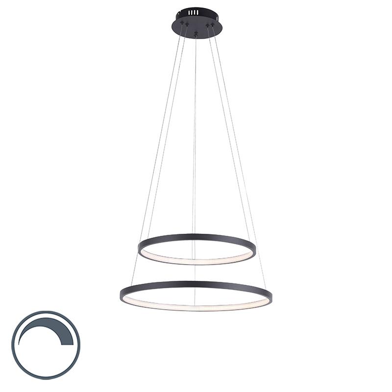 Nowoczesna lampa wisząca antracyt LED ściemnialna - Anella Duo