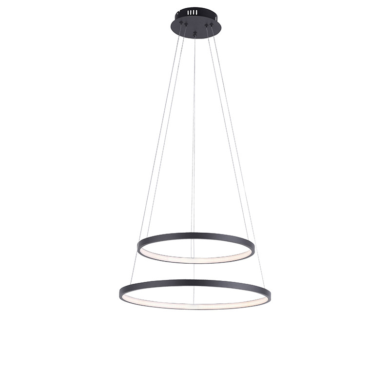 Moderne ring hanglamp antraciet incl. LED dimbaar - Anella Duo