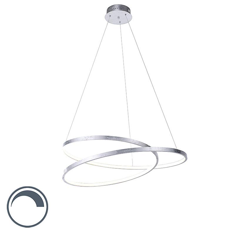 Designerska lampa wisząca srebrna 72cm LED ściemnialna - Rowan
