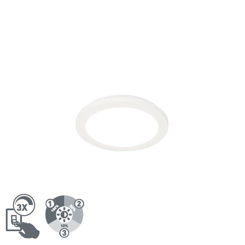 Plafonnière wit 22,5 cm incl. LED 3-staps dimbaar IP44 - Steve