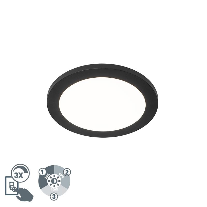Plafonni�re zwart 22,5 cm incl. LED 3-staps dimbaar IP44 - Steve