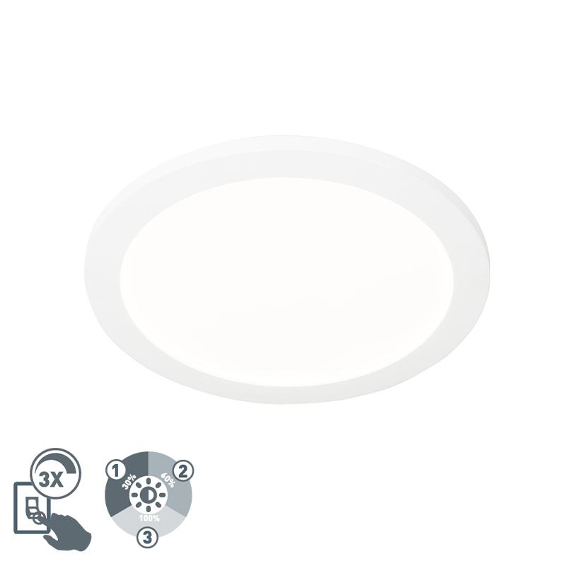 Plafonni�re wit 30 cm incl. LED 3-staps dimbaar IP44 - Steve