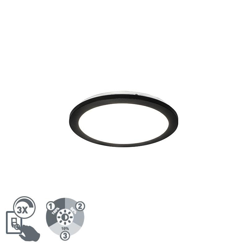Moderne plaffoni�re zwart 30 cm 3-staps dimbaar incl. LED - Steve