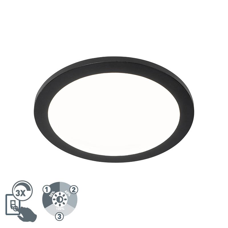 Plafonni�re zwart 30 cm incl. LED 3-staps dimbaar IP44 - Steve