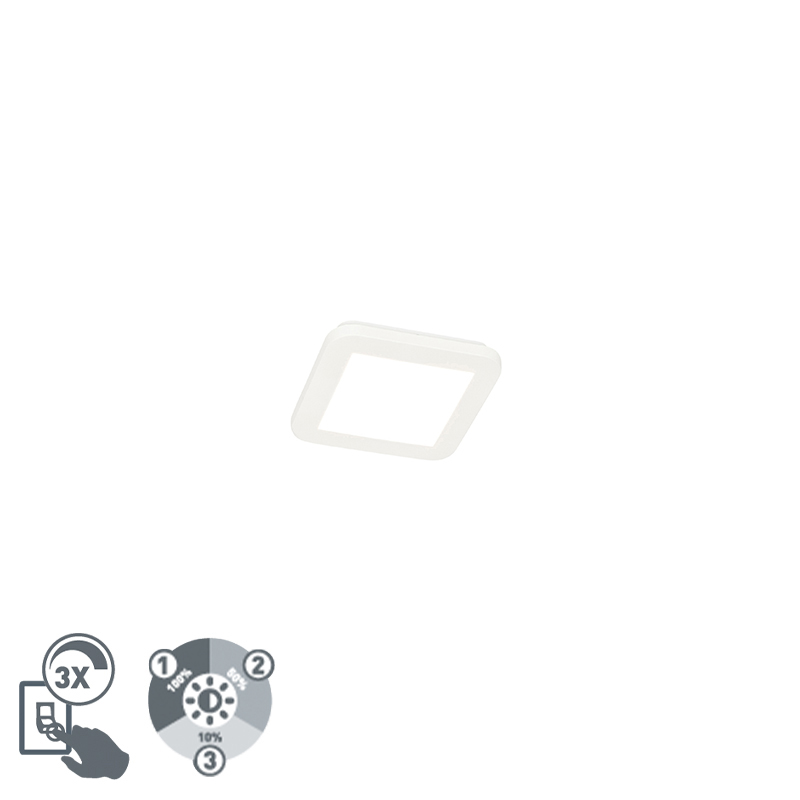 Moderne plaffoni�re wit vierkant 17 cm incl. LED - Steve