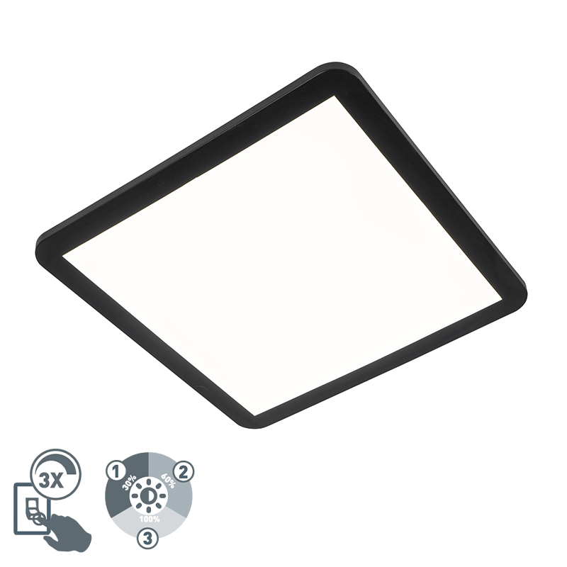 Plafonni�re zwart 40 cm incl. LED 3-staps dimbaar IP44 - Steve
