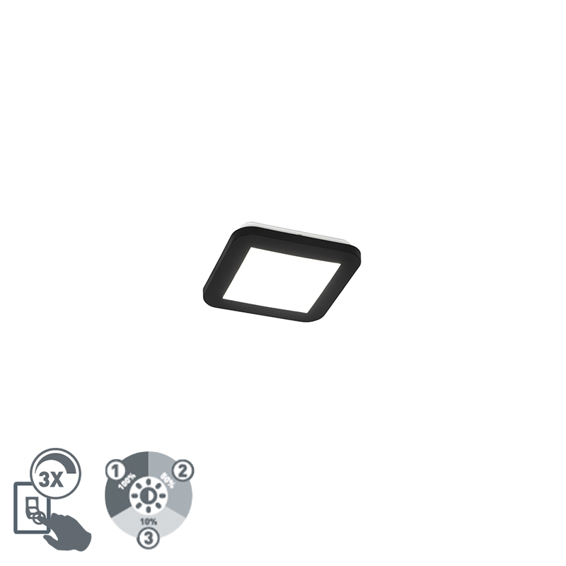 Moderne plaffoni�re zwart vierkant 17 cm incl. LED - Steve